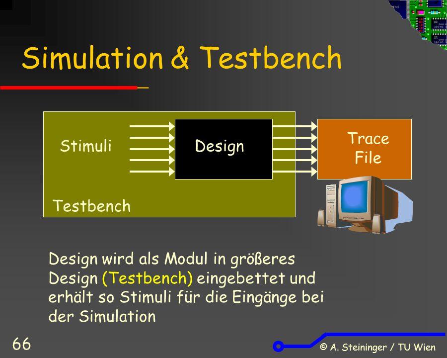 © A. Steininger / TU Wien 66 Simulation & Testbench DesignStimuli Trace File Testbench Design wird als Modul in größeres Design (Testbench) eingebette