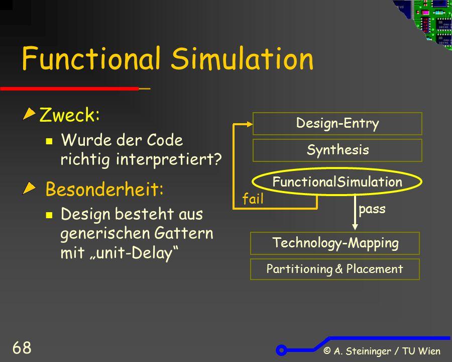 © A. Steininger / TU Wien 68 Functional Simulation Zweck: Wurde der Code richtig interpretiert? Besonderheit: Design besteht aus generischen Gattern m