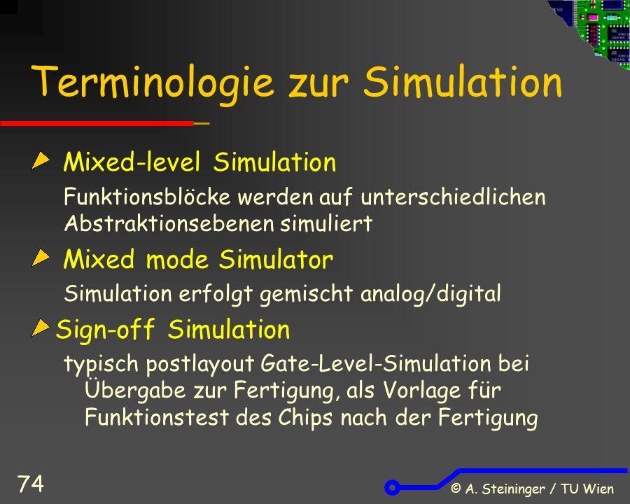© A. Steininger / TU Wien 74 Terminologie zur Simulation Mixed-level Simulation Funktionsblöcke werden auf unterschiedlichen Abstraktionsebenen simuli