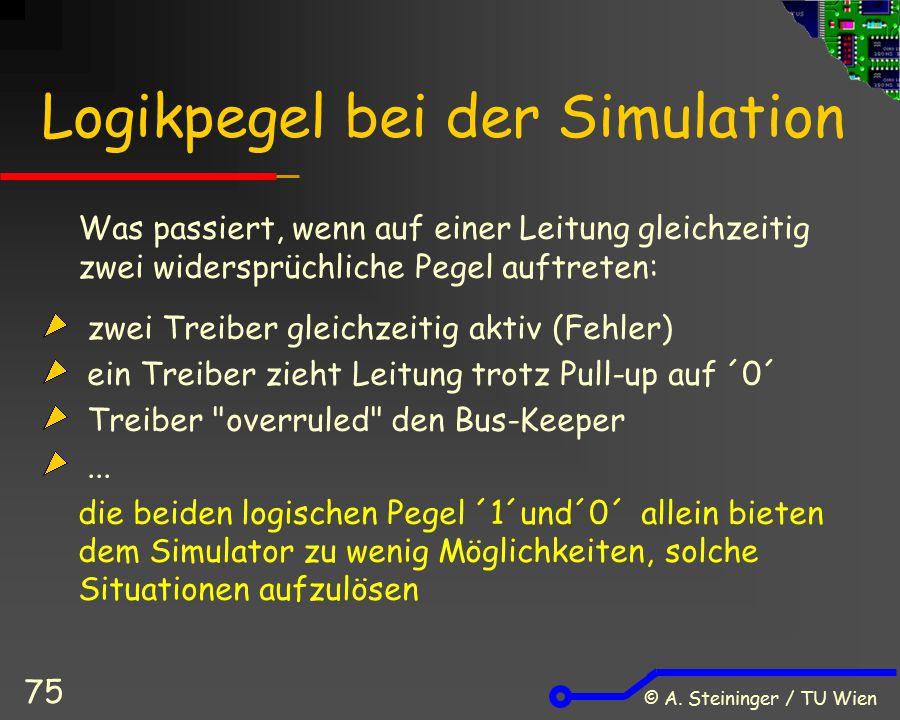 © A. Steininger / TU Wien 75 Logikpegel bei der Simulation Was passiert, wenn auf einer Leitung gleichzeitig zwei widersprüchliche Pegel auftreten: zw