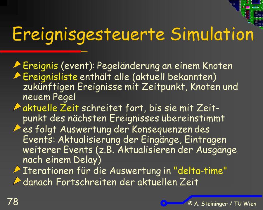 © A. Steininger / TU Wien 78 Ereignisgesteuerte Simulation Ereignis (event): Pegeländerung an einem Knoten Ereignisliste enthält alle (aktuell bekannt