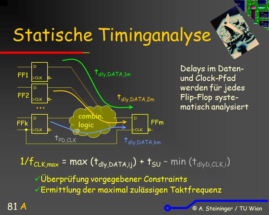 © A. Steininger / TU Wien 81 Statische Timinganalyse combin. logic t PD,CLK 1/f CLK,max = max (t dly,DATA,ij ) + t SU – min (t dlyD,CLK,i ) Delays im