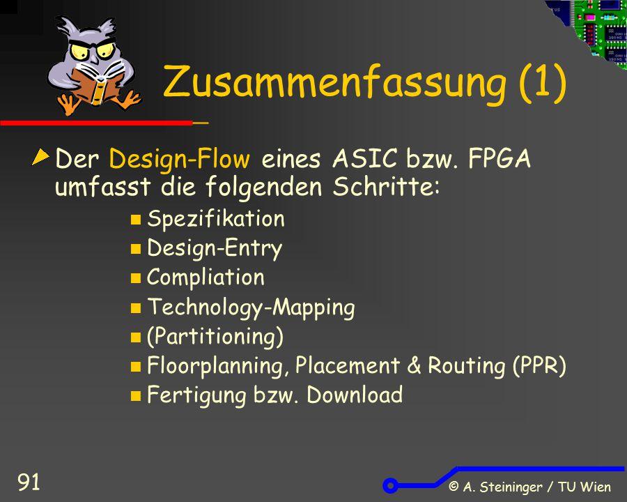 © A. Steininger / TU Wien 91 Zusammenfassung (1) Der Design-Flow eines ASIC bzw. FPGA umfasst die folgenden Schritte: Spezifikation Design-Entry Compl