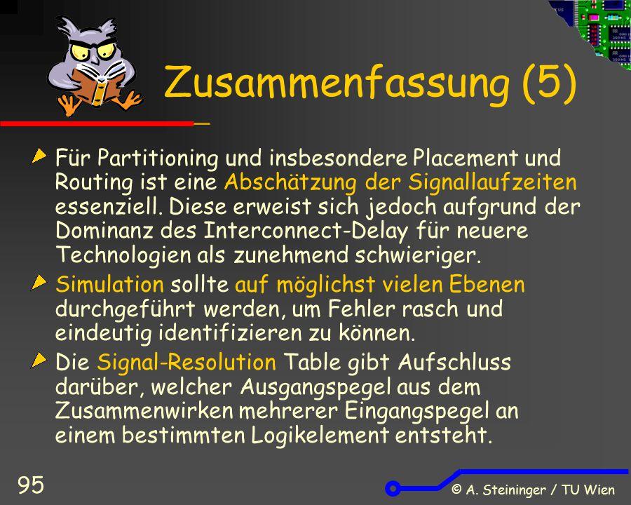 © A. Steininger / TU Wien 95 Zusammenfassung (5) Für Partitioning und insbesondere Placement und Routing ist eine Abschätzung der Signallaufzeiten ess
