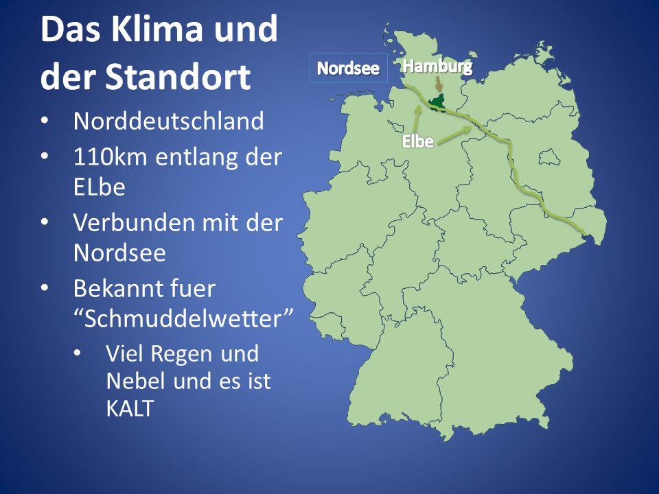 """Das Klima und der Standort Norddeutschland 110km entlang der ELbe Verbunden mit der Nordsee Bekannt fuer """"Schmuddelwetter"""" Viel Regen und Nebel und es"""