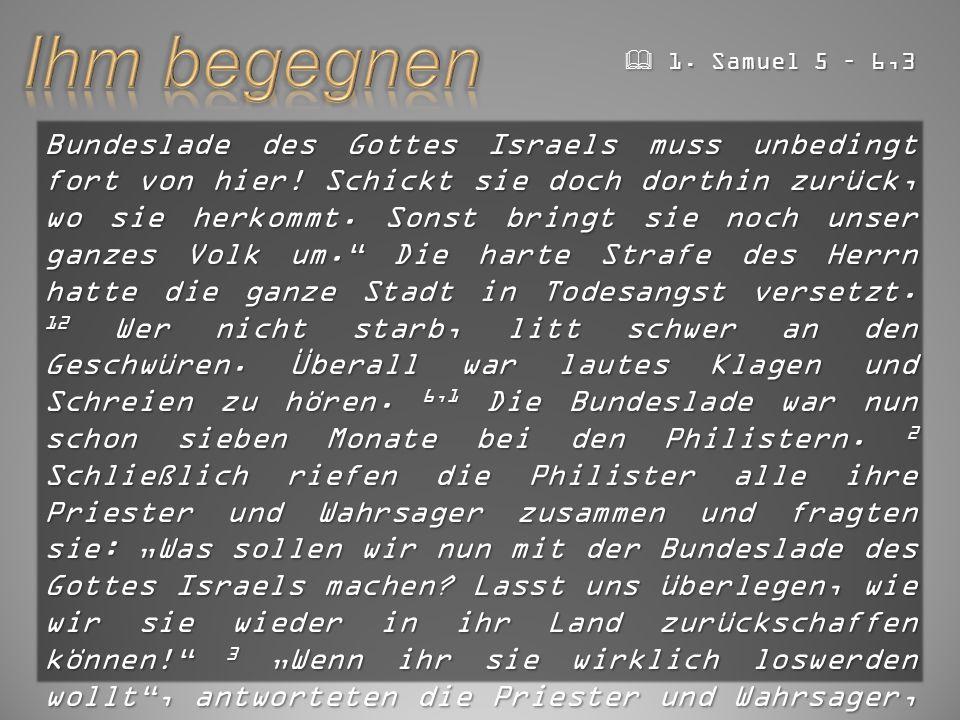 Bundeslade des Gottes Israels muss unbedingt fort von hier.