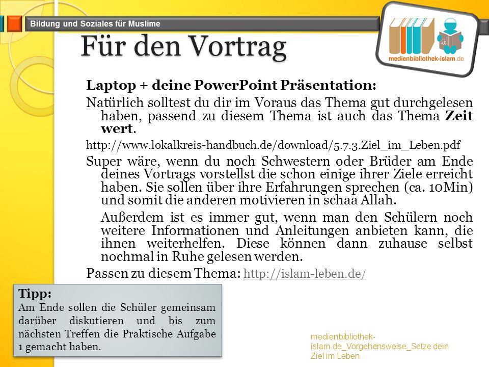 Für den Vortrag Laptop + deine PowerPoint Präsentation: Natürlich solltest du dir im Voraus das Thema gut durchgelesen haben, passend zu diesem Thema