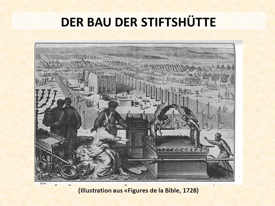 DER BAU DER STIFTSHÜTTE Originalgetreue Nachbildung der Stiftshütte im Timna-Park, Israel (Illustration aus «Figures de la Bible, 1728)