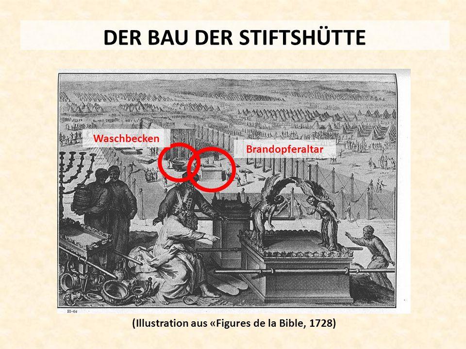 DER BAU DER STIFTSHÜTTE (Illustration aus «Figures de la Bible, 1728) Brandopferaltar Waschbecken