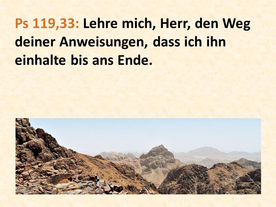 Ps 119,33: Lehre mich, Herr, den Weg deiner Anweisungen, dass ich ihn einhalte bis ans Ende.