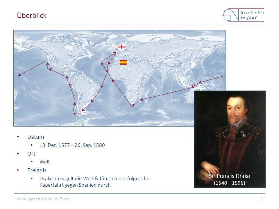www.geschichte-in-5.de Überblick Datum 13. Dez. 1577 – 26. Sep. 1580 Ort Welt Ereignis Drake umsegelt die Welt & führt eine erfolgreiche Kaperfahrt ge