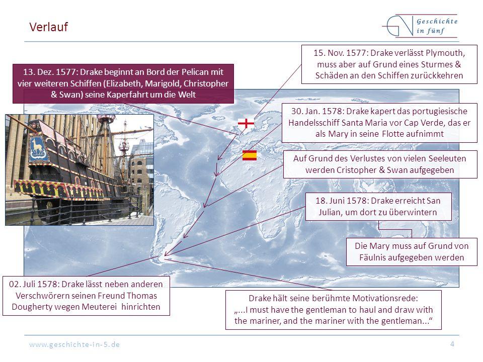 www.geschichte-in-5.de Verlauf 4 15. Nov. 1577: Drake verlässt Plymouth, muss aber auf Grund eines Sturmes & Schäden an den Schiffen zurückkehren 13.