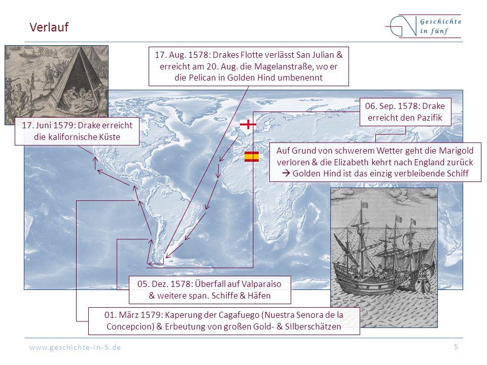www.geschichte-in-5.de Verlauf 5 17. Aug. 1578: Drakes Flotte verlässt San Julian & erreicht am 20. Aug. die Magelanstraße, wo er die Pelican in Golde