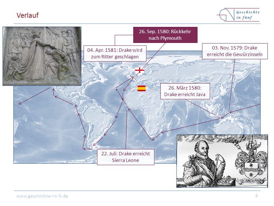 www.geschichte-in-5.de Folgen Die Kaperfahrt um die Welt war ein immenser wirtschaftlicher Erfolg Englands Staatshaushalt ist für die nächsten Jahre gesichert Spanien hat massive Verluste zu verzeichnen Augenscheinlicher Vorläufer für den (unerklärten) Englisch- Spanischen Krieg (1585-1604) Sir Francis Drake wird zum englischen Volkshelden Sir Francis Drake gelangt in der Folge zu großem Einfluss in Politik & insb.