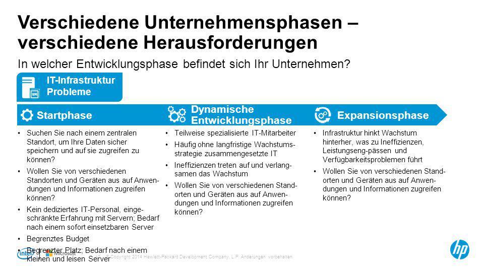 © Copyright 2014 Hewlett-Packard Development Company, L.P. Änderungen vorbehalten. 10 Verschiedene Unternehmensphasen – verschiedene Herausforderungen