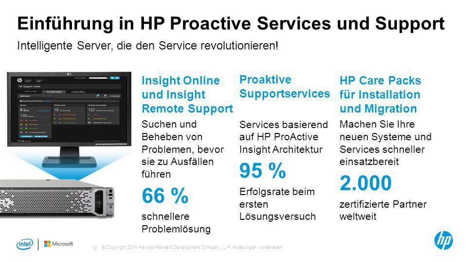 © Copyright 2014 Hewlett-Packard Development Company, L.P. Änderungen vorbehalten. 18 Einführung in HP Proactive Services und Support Intelligente Ser