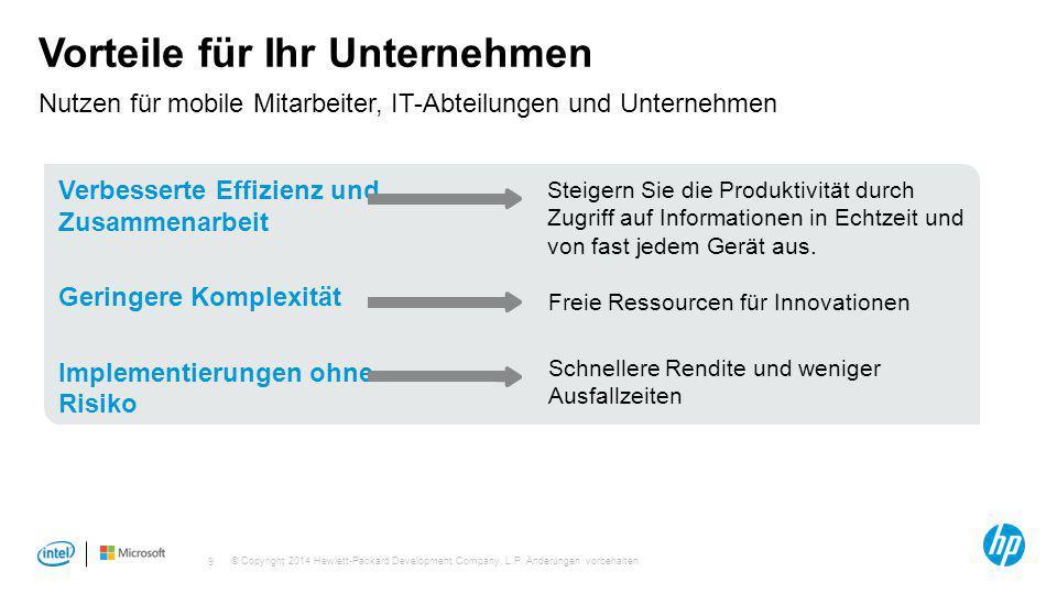 © Copyright 2014 Hewlett-Packard Development Company, L.P. Änderungen vorbehalten. 9 Vorteile für Ihr Unternehmen Nutzen für mobile Mitarbeiter, IT-Ab