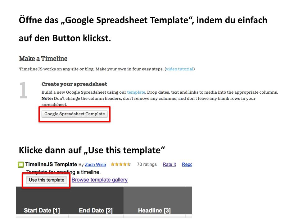 """Öffne das """"Google Spreadsheet Template"""", indem du einfach auf den Button klickst. Klicke dann auf """"Use this template"""""""