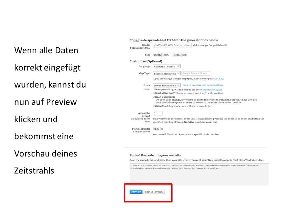 Wenn alle Daten korrekt eingefügt wurden, kannst du nun auf Preview klicken und bekommst eine Vorschau deines Zeitstrahls