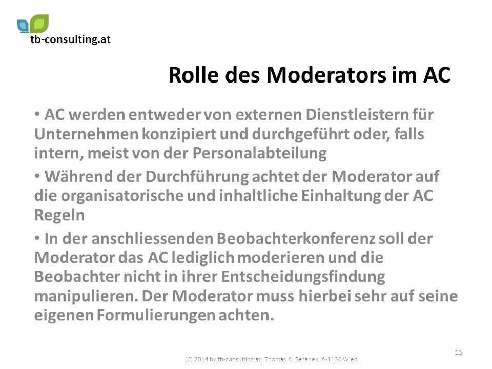 Rolle des Moderators im AC AC werden entweder von externen Dienstleistern für Unternehmen konzipiert und durchgeführt oder, falls intern, meist von de