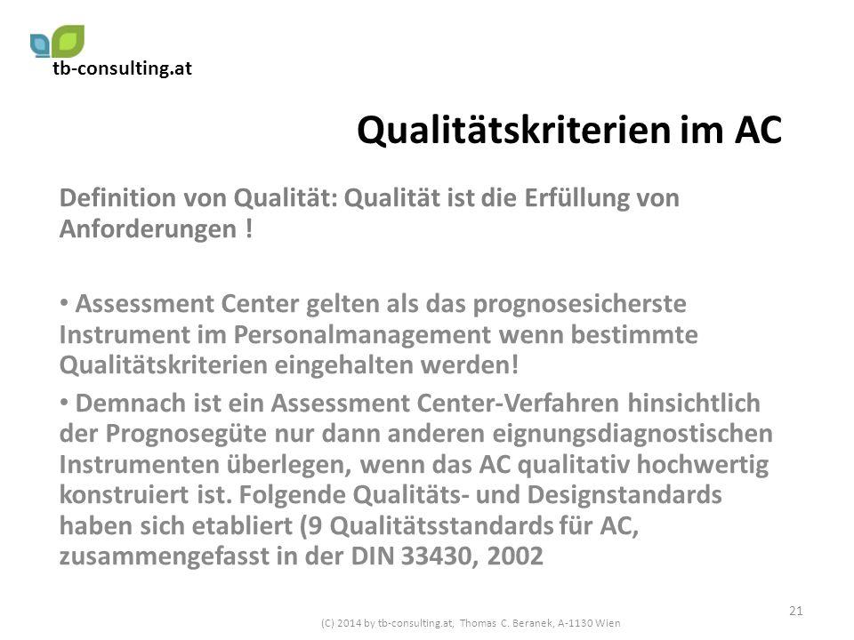 Qualitätskriterien im AC Definition von Qualität: Qualität ist die Erfüllung von Anforderungen ! Assessment Center gelten als das prognosesicherste In