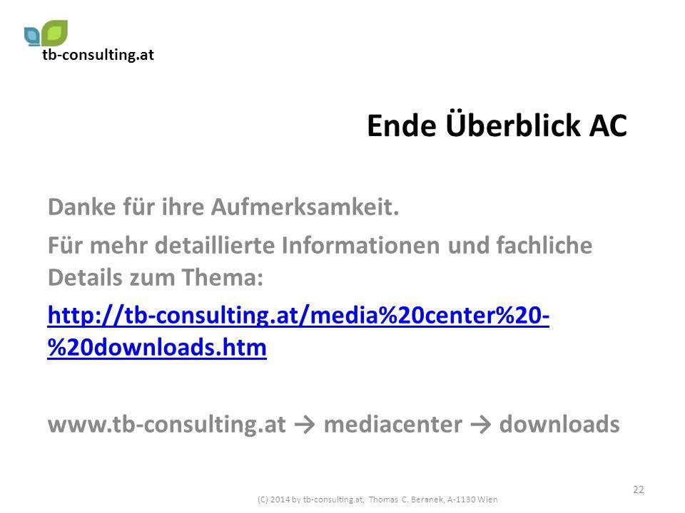 Ende Überblick AC Danke für ihre Aufmerksamkeit. Für mehr detaillierte Informationen und fachliche Details zum Thema: http://tb-consulting.at/media%20
