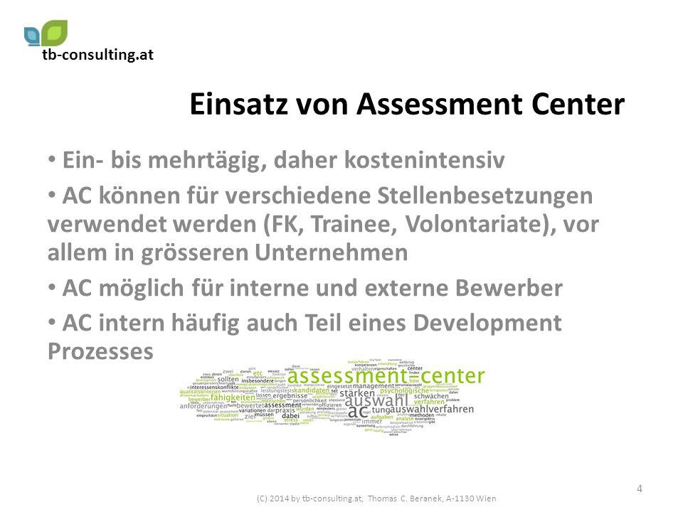 Einsatz von Assessment Center Ein- bis mehrtägig, daher kostenintensiv AC können für verschiedene Stellenbesetzungen verwendet werden (FK, Trainee, Vo
