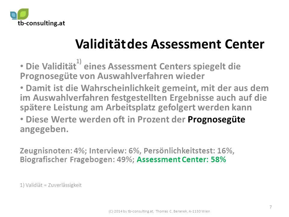 Validität des Assessment Center Die Validität 1) eines Assessment Centers spiegelt die Prognosegüte von Auswahlverfahren wieder Damit ist die Wahrsche