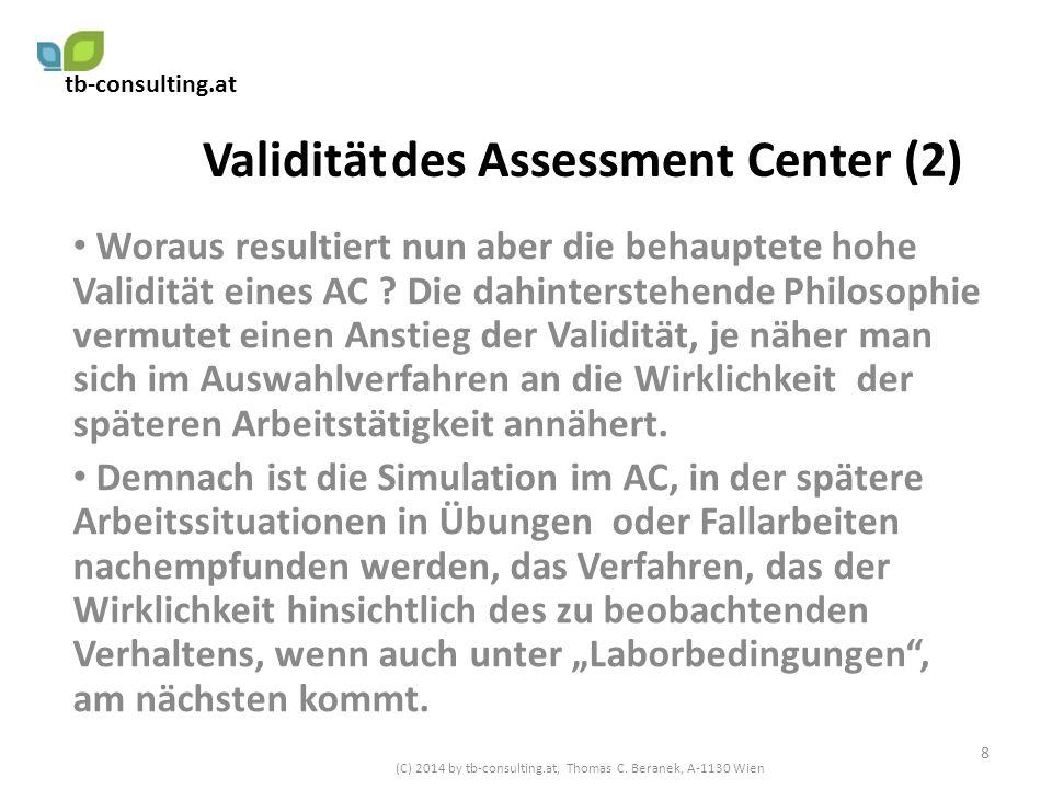 Validität des Assessment Center (2) Woraus resultiert nun aber die behauptete hohe Validität eines AC ? Die dahinterstehende Philosophie vermutet eine