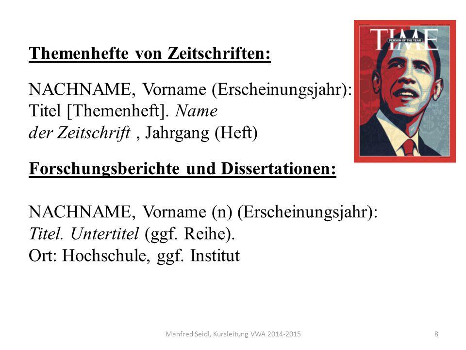 Themenhefte von Zeitschriften: NACHNAME, Vorname (Erscheinungsjahr): Titel [Themenheft].