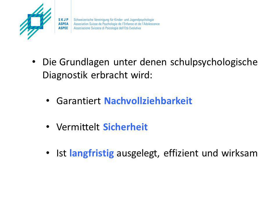 Die Grundlagen unter denen schulpsychologische Diagnostik erbracht wird: Garantiert Nachvollziehbarkeit Vermittelt Sicherheit Ist langfristig ausgelegt, effizient und wirksam