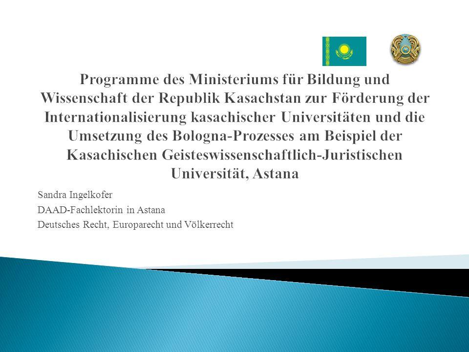 Sandra Ingelkofer DAAD-Fachlektorin in Astana Deutsches Recht, Europarecht und Völkerrecht