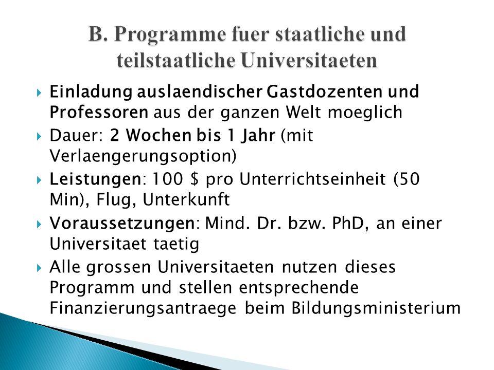  Einladung auslaendischer Gastdozenten und Professoren aus der ganzen Welt moeglich  Dauer: 2 Wochen bis 1 Jahr (mit Verlaengerungsoption)  Leistun