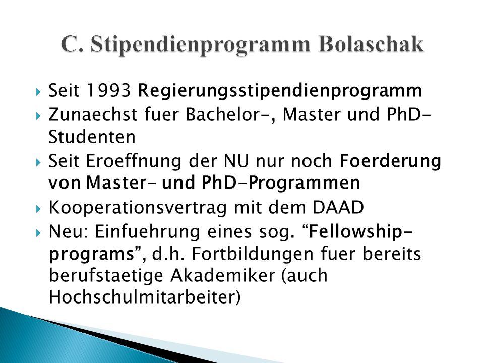 Seit 1993 Regierungsstipendienprogramm  Zunaechst fuer Bachelor-, Master und PhD- Studenten  Seit Eroeffnung der NU nur noch Foerderung von Master