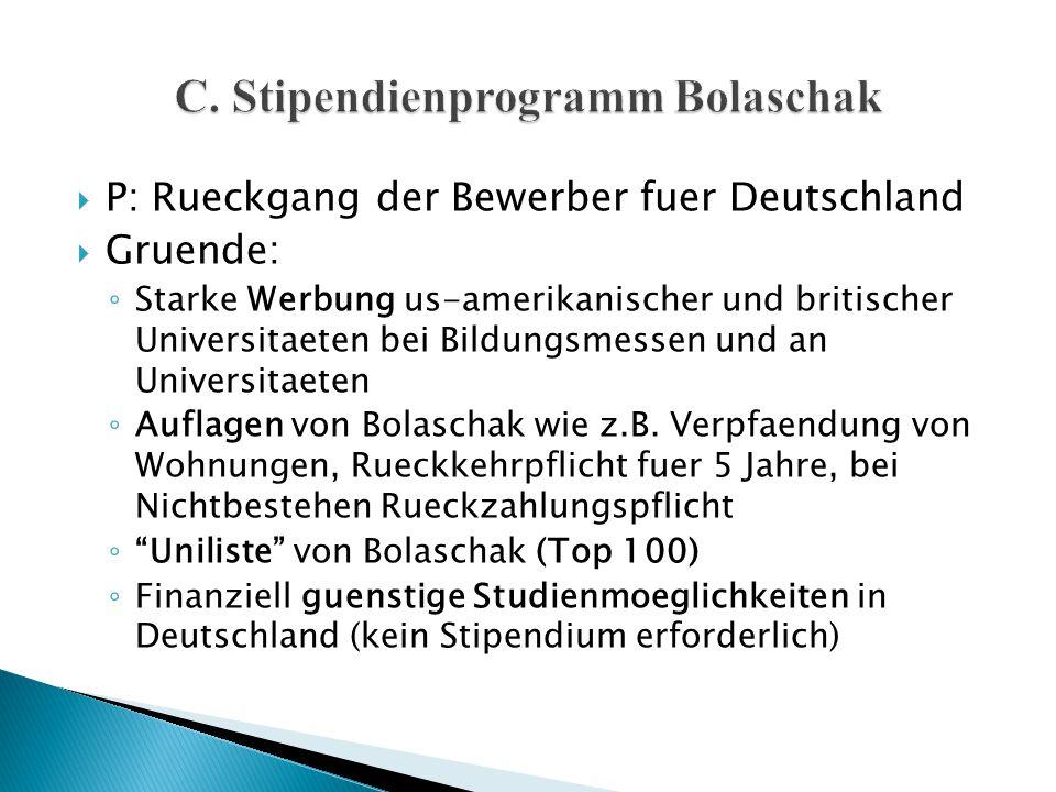  P: Rueckgang der Bewerber fuer Deutschland  Gruende: ◦ Starke Werbung us-amerikanischer und britischer Universitaeten bei Bildungsmessen und an Uni