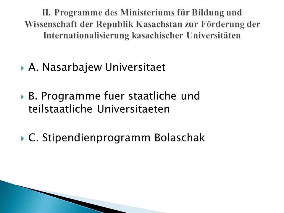  A. Nasarbajew Universitaet  B. Programme fuer staatliche und teilstaatliche Universitaeten  C. Stipendienprogramm Bolaschak