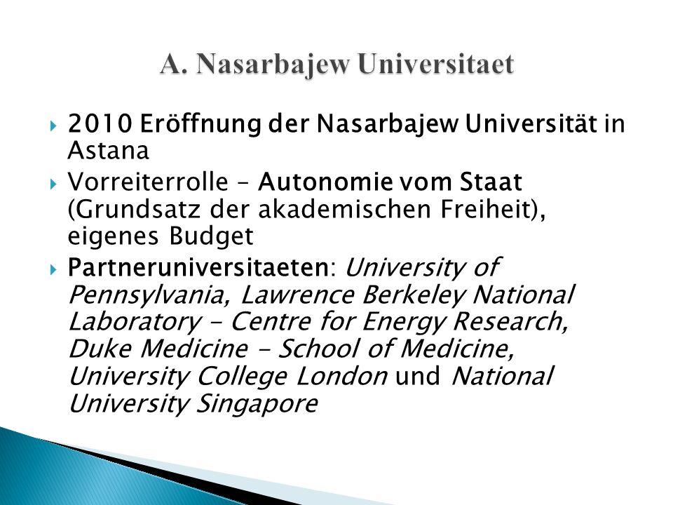  2010 Eröffnung der Nasarbajew Universität in Astana  Vorreiterrolle – Autonomie vom Staat (Grundsatz der akademischen Freiheit), eigenes Budget  P