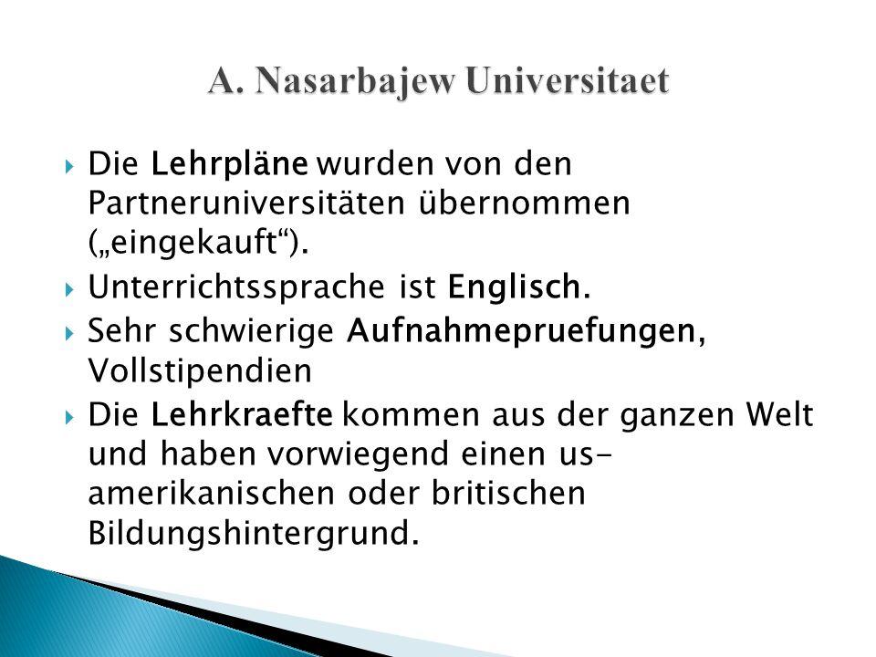 """ Die Lehrpläne wurden von den Partneruniversitäten übernommen (""""eingekauft"""").  Unterrichtssprache ist Englisch.  Sehr schwierige Aufnahmepruefungen"""