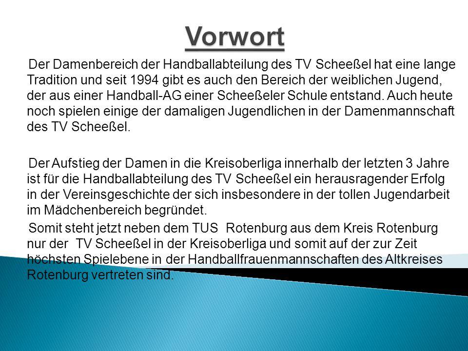  Gründung: 1994  Mitglieder: 200  Abteilungen: Mini+ Max, weibliche E,D,C, & B sowie männliche E,D,C,B & A des weiteren die  Damenmannschaft, die auch das Rückgrat in Organisation und Führung des Vereins bildet  Sporthallen: Beekehalle & Eichenschulhalle  Internet: http://tv-scheessel-handballabteilung.jimdo.com/1-damen/ http://scheesselerhandballkol1213.jimdo.com/ Kurzportrait – TV Scheeßel Handballabteilung