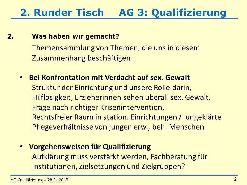 AG Qualifizierung - 28.01.2015 2 2. Runder TischAG 3: Qualifizierung 2.Was haben wir gemacht.