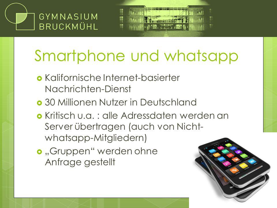 Smartphone und whatsapp  Kalifornische Internet-basierter Nachrichten-Dienst  30 Millionen Nutzer in Deutschland  Kritisch u.a. : alle Adressdaten