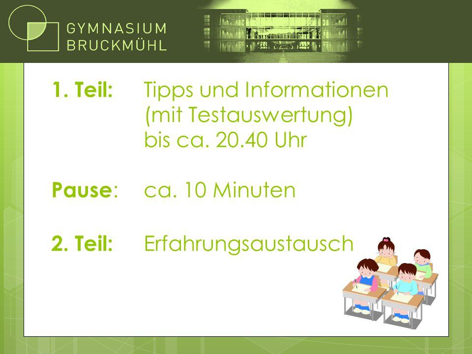 1. Teil: Tipps und Informationen (mit Testauswertung) bis ca. 20.40 Uhr Pause : ca. 10 Minuten 2. Teil: Erfahrungsaustausch Übersicht