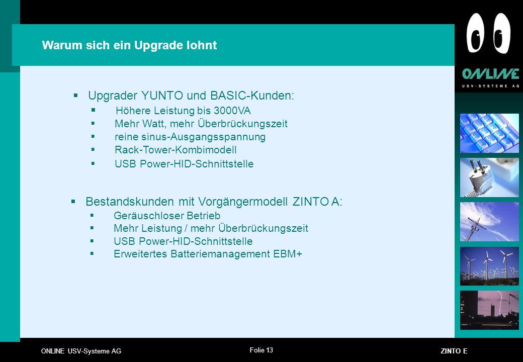 Folie 13 ONLINE USV-Systeme AG ZINTO E Warum sich ein Upgrade lohnt  Upgrader YUNTO und BASIC-Kunden:  Höhere Leistung bis 3000VA  Mehr Watt, mehr