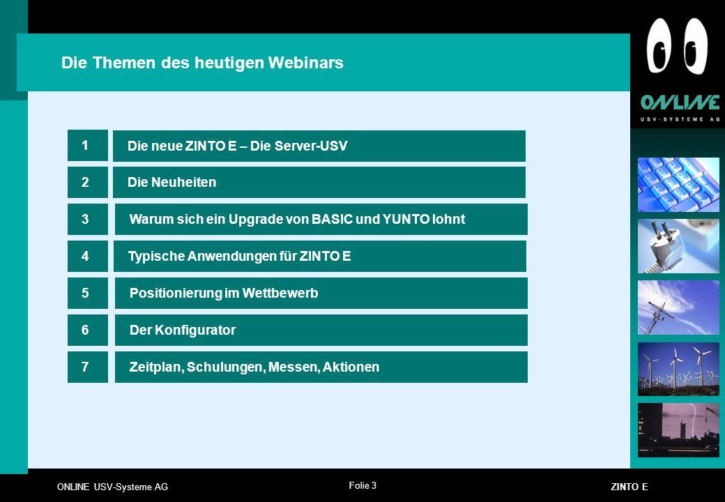 Folie 3 ONLINE USV-Systeme AG ZINTO E Die neue ZINTO E – Die Server-USV Die Neuheiten 1 2 Die Themen des heutigen Webinars 4Typische Anwendungen für Z