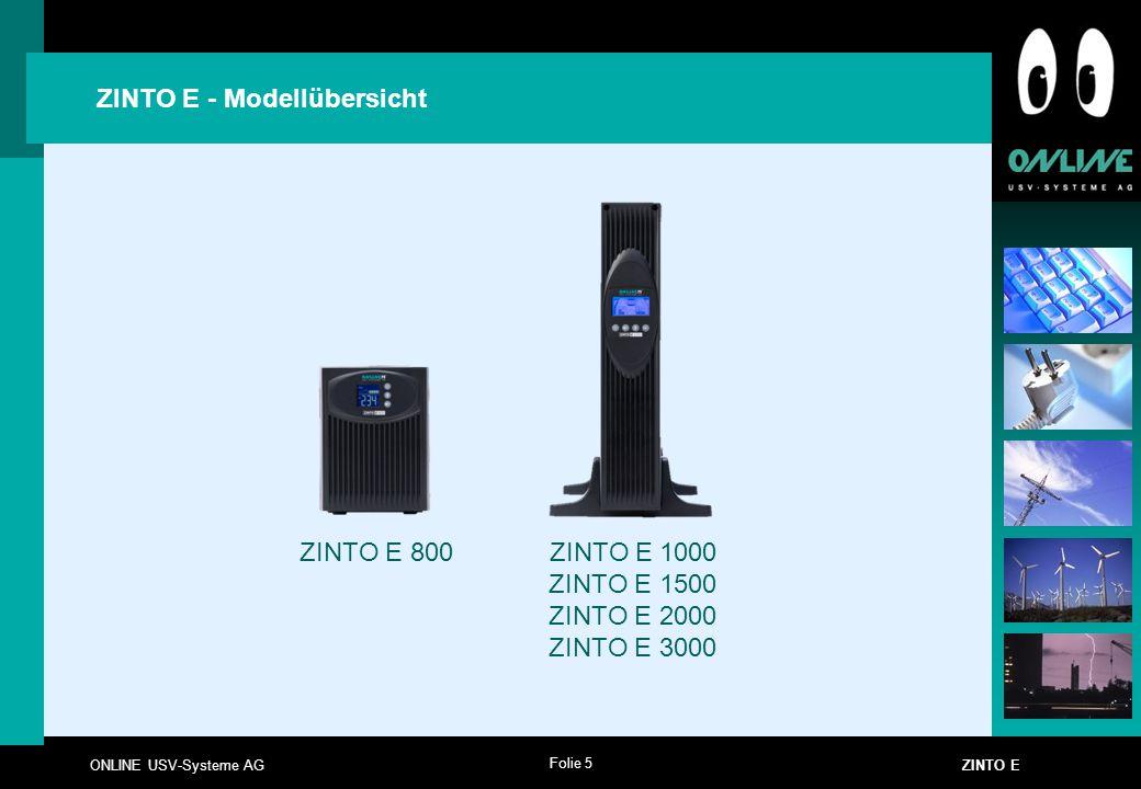 Folie 5 ONLINE USV-Systeme AG ZINTO E ZINTO E - Modellübersicht ZINTO E 800 ZINTO E 1000 ZINTO E 1500 ZINTO E 2000 ZINTO E 3000