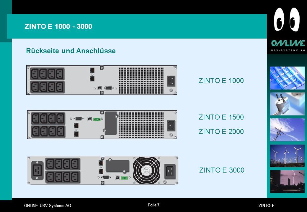 Folie 7 ONLINE USV-Systeme AG ZINTO E ZINTO E 1000 - 3000 Rückseite und Anschlüsse ZINTO E 1000 ZINTO E 1500 ZINTO E 2000 ZINTO E 3000
