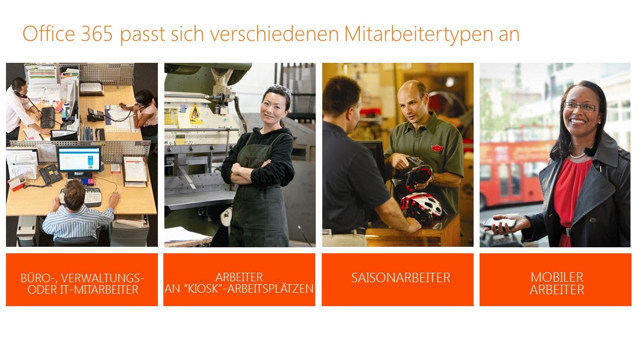 """Office 365 passt sich verschiedenen Mitarbeitertypen an BÜRO-, VERWALTUNGS- ODER IT-MITARBEITER ARBEITER AN """"KIOSK""""-ARBEITSPLÄTZEN MOBILER ARBEITER SA"""