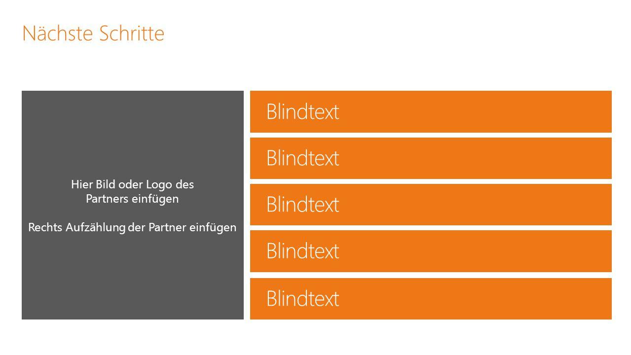 Nächste Schritte Hier Bild oder Logo des Partners einfügen Rechts Aufzählung der Partner einfügen Blindtext