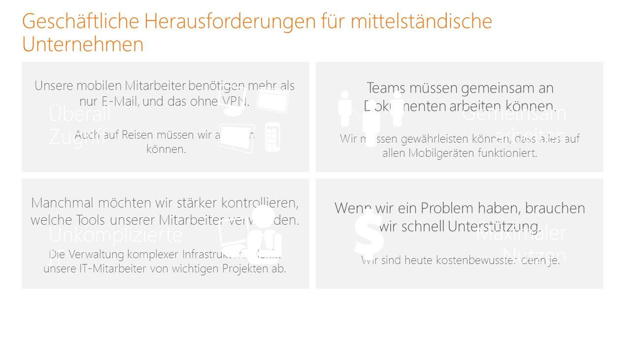 Office 365 passt sich verschiedenen Mitarbeitertypen an BÜRO-, VERWALTUNGS- ODER IT-MITARBEITER ARBEITER AN KIOSK -ARBEITSPLÄTZEN MOBILER ARBEITER SAISONARBEITER