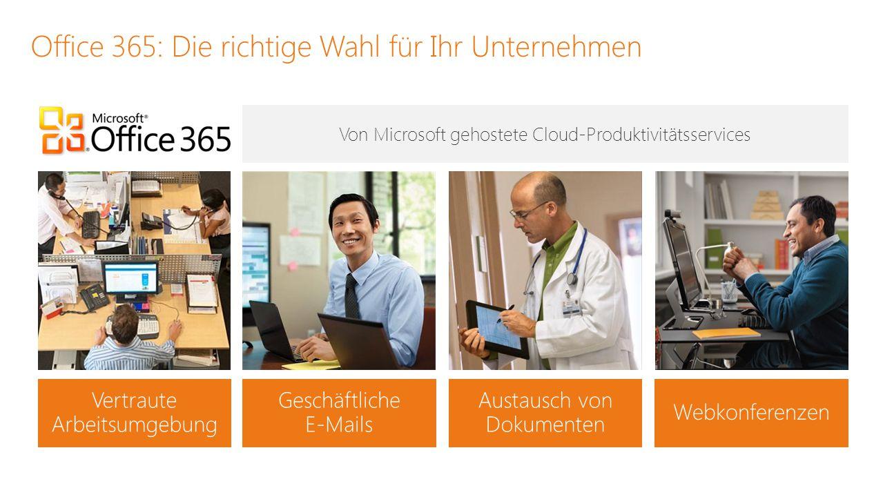 Austausch von Dokumenten Webkonferenzen Geschäftliche E-Mails Office 365: Die richtige Wahl für Ihr Unternehmen Von Microsoft gehostete Cloud-Produkti
